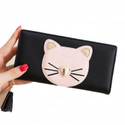 YABINA Cute Ladies Long Cat Wallets for Women Clutch Zipper Tassels Purse