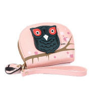 YABINA Women Cute Owl Stereoscopic Printed Round Purses Clutch Wallet