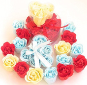 Valentine's Charming Rose Scent Bath Bomb, 18 Colourful Rose Flower with Heart Gift Box. 9 Red+6blue+ 3 Yellow, 4go