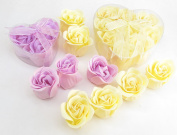 Valentine's gift, Rose Scent Bath Bomb, 6 yellow and 3 purple Rose Flower with Heart Gift Box. 3go