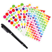 Mavogel 6 Sheet Essential Oils Labels, Multicoloured Essential Oil Cap/Top labels, Perfect for roller bottles, Sample Vials or Diary, Star-shaped & Heart-shaped & Round with 1 Marker Pen