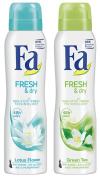 Fa Fresh & Dry Lotus Flower and Green Tea Antiperspirant Spray Deodorant, (Bundle of 2) 150ml each