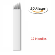 Pinkiou 50 Pcs Microblading Needles Permanent Makeup Manual Tattoo Eyebrow Blade Bevel For Eyebrow Tattoo Pens