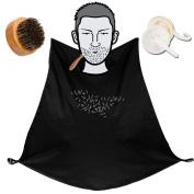 Beard Brush + Beard Cape Apron Set,Jack & Rose Boar Bristles Facial Hair Comb Beard Brush Kit for Men,Foundry Bib Apron Beard Hair Timmings Catcher Cape for Moustache Styling & Maintenance