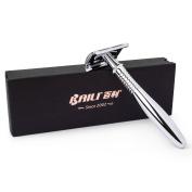 BAILI Long Handled Double Edge Safety Razor, 1 Razor + 5 Stainless Steel Blades