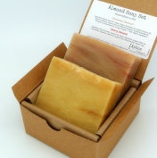 Almond Soap Gift Set (2 Full Size Bars) - Cherry Almond, Cinnamon Almond - Handmade in USA - Natural / Organic Ingredients