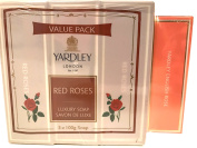 Yardley London English Red Roses Luxury Soap Value Pack! 3 Bars And A Bonus Mini Bar! Smells Great!