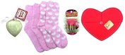 Maybelline Baby Lips Balm Ball Pout in Pink and Pink Fuzzy Socks, Heart Shaped Soap and Red Felt Heart Envelope