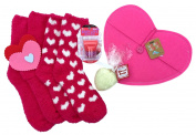 Maybelline Baby Lips Balm Ball Kiss of Rose Deep Pink Fuzzy Socks, Heart Shaped Soap and Pink and Red Felt Hearts and Envelope