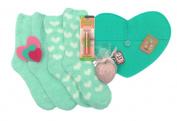 Maybelline Baby Lips Buds Peach Posey Limited Edition, Mint and Cream Fuzzy Socks, Heart Shaped Soap and Pink and Red Felt Hearts and Envelope