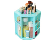 GAMT Large Capacity 360 Degree Rotating Cosmetic Storage Box Blue