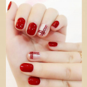 Bridalvenus 24Pcs/Set Bridal False Nails Set Full Cover Short Square Silver and Red Lines Fake Nail Tips with Design Press on Nails with Glue and Adhesive Tab for Women and Girls