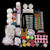 Acrylic Nail Kit DANCINGNAIL 21 in 1 Pro Nail Art Acrylic Powder Liquid Brush Metal Colours Glitter Nail Glue Set