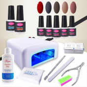 CLAVUZ 15pcs Gel Nail Polish Set Soak Off UV LED Nail Lacquer 36W UV Nail Lamp Top Coat and Base Coat New Starter Colour Collections Manicure Nail Art Tool Gift Kit