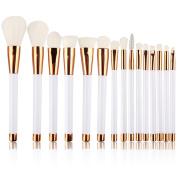 Summifit 15 Pcs Professional Makeup Brushes Set Powder Foundation Contour Blending Eyeshadow Eyeliner Bronzer Lip Brush Kit