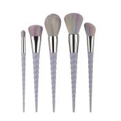 ExGizmo 5pcs Unicorn Spiral Makeup Brushes Set Rainbow Hair Eyeshadow Powder Brush Beauty Tool