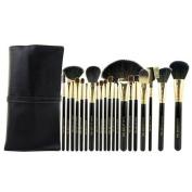 Professional 20 pcs Foundation Brush Set made of Soft Goat Hair Pony Hair Professional Makeup Kabuki Brushes with Leather Case