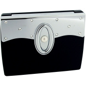 Compact Mirror Black Stunning Fold Over Travel Mirror 7X Magnification With Crystallised Elements SC1315 by FMG