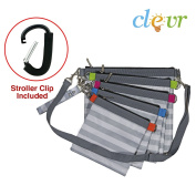 Clevr Nappy Bag Organiser Pouches, 4 Mesh and 1 Wet bag, with Stroller Clip
