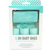 Oh Baby Bags Nappy Bag Clip-On Dispenser Gift Box with Disposable Bags for Dirty Nappies - Recycled Plastic - Seafoam Duffle plus 48 Seafom Scented Bags