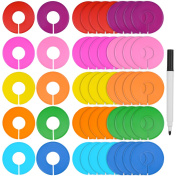 Blulu 50 Pieces Coloured Blank Closet Size Dividers Round Clothing Rack Dividers with Marker Pen