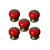 OULII Round Ceramic Kitchen Pull Handles Cupboard Cabinet Drawer Door Knobs (Red) Pack 5pcs
