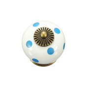 OULII Polka Dotted Design Ceramic Kitchen Pull Handles Cupboard Cabinet Drawer Door Knobs (White) Pack 10pcs