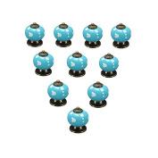 OULII Polka Dotted Design Ceramic Kitchen Pull Handles Cupboard Cabinet Drawer Door Knobs (Blue) Pack 10pcs