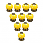 OULII Polka Dotted Design Ceramic Kitchen Pull Handles Cupboard Cabinet Drawer Door Knobs (Yellow) Pack 10pcs