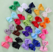 20 Pcs Make Baby Hair Clips Solid Dot Leopard Print Bow Hairpin Hair Clips for Baby Girls Kids Hair Accessories