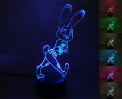 LIONKING USA  .   Zootopia -Rabbit 3D Optical Illusion Multi-coloured Change Touch Botton Table Light - 3D Acrylic Home Decor lamp 0230