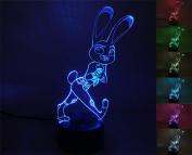 LIONKING USA  .   Zootopia -Rabbit 3D Optical Illusion Multi-coloured Change Touch Botton Table Light - 3D Acrylic Home Decor lamp 0230