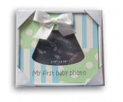 Blue and Green Baby Sonogram Frame - My First Baby Photo - 5 x 5.5