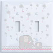 Grey and Pink Dandelion Elephant Light Switch Plates Covers / Double Toggle / Elephant Nursery Decor
