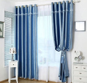 Luxury Blue Rose Embossing Pattern Blackout Insulated Window Treatments Drapes Curtains Set of 2 Panels 130cm x 220cm