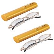 Ultra Lightweight Gold Full Frame +2.00 Reading Glasses Aluminium Pocket Tube Case