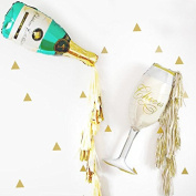 Mandydov 80cm Champagne and Glass Shaped Foil Balloons with Paper Tassels for 2017 New Year Holiday Party Decoration