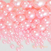 (550pcs, Light Pink) Mixed Size 3/5/8/10mm Half Round Flat Back Pearl Resin Cabochons Scrapbooking Art Nail Craft