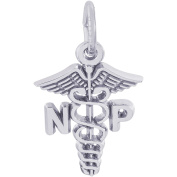 Rembrandt Charms Sterling Silver Nurse Practitioner Caduceus Charm