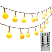 [Remote & Timer] Ledinus 13ft/4m 40 LED Globe String Lights 8 Modes Waterproof Battery Operated Ball Fairy Light for Wedding Halloween Party Christmas Indoor Outdoor