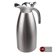 Coffee Pot Stainless Steel Double Wall Vacuum Insulated 1.5L Large Capacity Tea/Water Pitcher with Press Button Silver