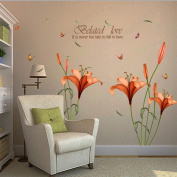 Wall Sticker, Hatop Red Lily Flower Wall Stickers Removable Decal Home Decor DIY Art Decoration