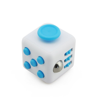 Smartcoco Release Stress Fidget Cube Desk Toy Relieve Stress Cubes Toy(White-Blue)