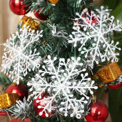 36pcs White Sparkling Snowflakes String & Sticker Window Clings Decal Christmas Decoration Hanging Xmas Ornaments