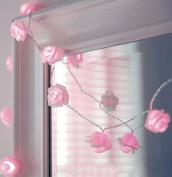 Zking 20 LED Battery Operated String Flower Rose Fairy Light Wedding Room Garden Christmas Decor