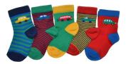 5 pairs of Baby Boys Car designs socks