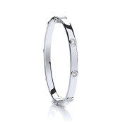 Sterling Silver Cubic Zirconia Hinged Baby Bangle - Christening Gift - British Made - Hallmarked
