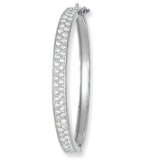 Sterling Silver Two Row Cubic Zirconia Hinged Baby Bangle - Christening Gift - British Made - Hallmarked