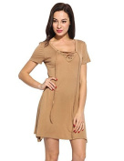ZEARO Women Short Sleeve Lace Up Front Solid Casual A-Line Dress