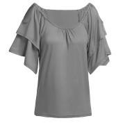 ShenLiNan Womens Off Shoulder Tiered Short Sleeve Shirt Casual Blouse Tops